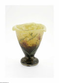Art Glass:Daum, A French Art Glass Vase Daum Nancy, c.1900 The cushion foot conical form vase with a tri-cornered rim internally decorat...