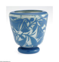 A French Art Glass Bowl Daum Nancy, c.1900  The urn form vase on cushion foot in a milky opaque ground cased in cerulean...