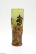 Art Glass:Daum, A French Overlaid and Etched Glass Vase Daum Nancy, c.1900 Thecushion foot to a cylindrical vase internally decorated i...