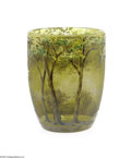 Art Glass:Daum, A French Etched And Enamelled Glass Vase Daum Nancy, c.1890 The scenic cabinet vase decorated in mottled green/yellow an...