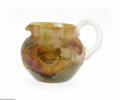 Art Glass:Daum, A French Etched And Enamelled Glass Pitcher Daum Nancy, c.1890 The bulbous body in a mottled yellow and orange ground wi...