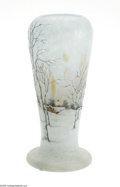 Art Glass:Daum, A French Overlaid and Enamelled Glass Vase Daum Nancy, c.1900 The scenic cushion-foot ovoid form vase with internal mott...