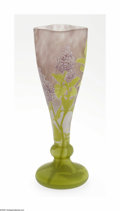 Art Glass:Daum, A French Overlaid, Etched And Enameled Glass Vase Daum Nancy,c.1900 The cushion foot to a knobbed then flaring vase wit...