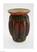 Art Glass:Daum, A French Glass And Bronze Vase Daum Nancy, c.1900 The mottled redribbed bulbous blown vase with a flared rim, the inter...