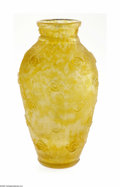 Art Glass:Daum, A French Art Glass Vase Daum Nancy, c.1900 The baluster form vasein a ground of mottled translucent tangerine etched t...