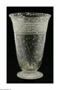 Art Glass:Daum, A French Art Glass Vase Daum Nancy, c.1900 The circular foot with atrumpet form vase decorated with an acid cut floral ...