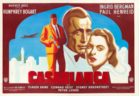 "Casablanca (Warner Brothers, 1947). First Post-War French Release Double Grande (63"" X 90"") Artwork Attributed..."