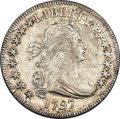Early Half Dollars, 1797 50C O-102, T-2, High R.5, AU55+ PCGS Secure. Amato-501....