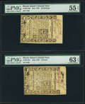 Colonial Notes:Rhode Island, Rhode Island May 1786 40s PMG About Uncirculated 55 EPQ;. RhodeIsland May 1786 £3 PMG Choice Uncirculated 63 EPQ.. ... (Total: 2notes)