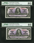 Canadian Currency: , BC-24b $10 1937, Two Consecutive Examples. ... (Total: 2 notes)