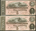 Confederate Notes:1864 Issues, T69 $5 1864 Two Examples.. ... (Total: 2 notes)