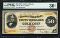 Large Size:Gold Certificates, Fr. 1188 $50 1882 Gold Certificate PMG Very Fine 30 Net.. ...