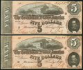 Confederate Notes, T69 $5 1864 PF-10 Cr. 564, Two Consecutive Examples. . ... (Total: 2 notes)