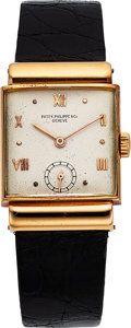 Timepieces:Wristwatch, Patek Philippe, 18k RG, Dress Watch, Circa 1930's. ...