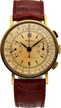Timepieces:Wristwatch, Rolex, Ref 3371, 18k YG Antimagnetic Two Register Chronograph,Circa 1946. ...