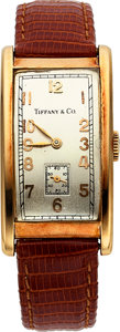 Timepieces:Wristwatch, Tiffany & Co 14k Yellow Gold wristwatch, with International Watch Co movement from circa 1930's. ...