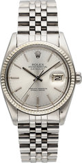 Timepieces:Wristwatch, Rolex Oyster Perpetual Datejust Stainless Steel Ref 16014, circa 1980. ...