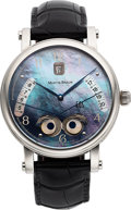 Timepieces:Wristwatch, Martin Braun, EOS Steel-Sunrise/Sunset, Black Mother-of-Pearl, Circa 2000's. ...