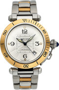 Timepieces:Wristwatch, . Cartier Pasha Ref: 2378, Steel and Gold Automatic. ...
