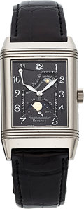 Timepieces:Wristwatch, Jaeger-LeCoultre, Ref: 270.3.63, 18k Gold Reverso Sun-Moon, Circa 2000. ...