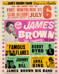 Music Memorabilia:Posters, James Brown Fort Worth Casino Ballroom Concert Poster (1964).Extremely Rare....