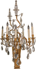 Decorative Arts, French:Lamps & Lighting, A Pair of Louis XVI-Style Crystal and Gilt Bronze Four-Light WallSconces, early 20th century. 37 h x 17 w x 16-1/2 d inches...(Total: 2 Items)