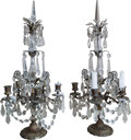 Decorative Arts, French:Other , A Pair of Louis XV-Style Gilt Bronze and Crystal Five-LightGirandoles, early 20th century. 26-1/2 h x 12-1/2 w x 12-1/2 d i...(Total: 2 Items)