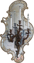 Decorative Arts, French:Lamps & Lighting, A Set of Six Louis XV-Style Gilt Bronze Three-Light Wall Sconces onMirrored Frames, late 19th century. 45 h x 25 w x 9 d in... (Total:6 Items)