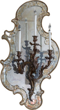 A Set of Six Louis XV-Style Gilt Bronze Three-Light Wall Sconces on Mirrored Frames, late 19th century 45 h x 25 w
