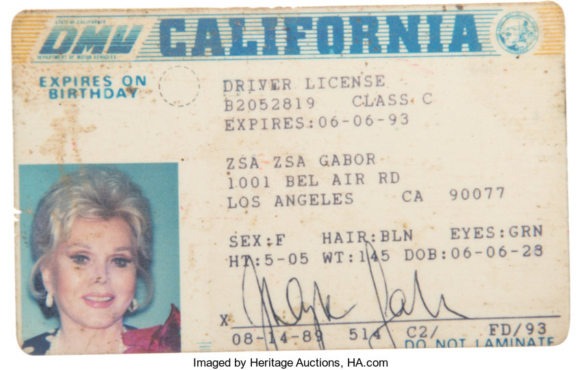 Gabor's Driver's 1989 Circa 65031 4 Zsa California Heritage License Auctions 2-1 Lot