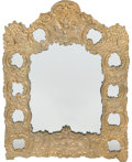 Decorative Arts, Continental:Other , A Rococo-Style Pressed Brass Mirror with Carved and PolychromedWood Mirror. 24 inches high x 19 inches wide (61.0 x 48.3 cm...(Total: 2 Items)