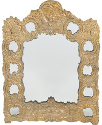 A Rococo-Style Pressed Brass Mirror with Carved and Polychromed Wood Mirror 24 inches high x 19 inches wide (61.0
