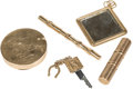 Silver & Vertu:Smalls & Jewelry, Five Various 14K Gold Vanity Articles Including Rolls Royce Key. 4-3/4 inches long (12.1 cm) (longest, eyeliner case). The... (Total: 5 Items)