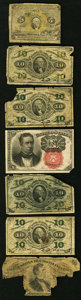 Fractional Currency:Shield, Seven Fractional Notes Fair or better.. ... (Total: 7 notes)