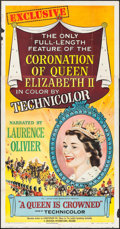 "Movie Posters:Documentary, A Queen is Crowned (Universal, 1953). Three Sheet (41"" X 79""). Documentary.. ..."