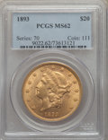 Liberty Double Eagles: , 1893 $20 MS62 PCGS. PCGS Population: (2030/895). NGC Census: (2593/811). MS62. Mintage 344,200. ...
