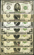 Small Size:Group Lots, An Assortment of Seven Series 1928A or 1928B Small Size Federal Reserve Notes Totaling $260 in Face Value. Fine or Better. ... (Total: 7 notes)