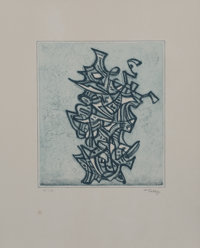 Mark Tobey (1890-1976) Liberation, 1973 Etching in colors on wove paper, with full margins 11 x 9