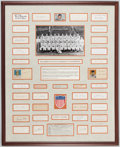 Baseball Collectibles:Others, 1944 St. Louis Browns Framed Team Signed Index Card Display - American League Champions!. ...