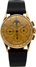 Timepieces:Wristwatch, Universal Geneve, Ref: 12266, 18k Gold Tri-Compax Chronograph, Circa 1949. ...