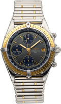 Timepieces:Wristwatch, Breitling, Ref: D13047, 18k YG and Steel Chronomat Chronograph, Circa 1990's. ...