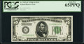 Fr. 1952-E $5 1928B Dark Green Seal Federal Reserve Note. PCGS Gem New 65PPQ