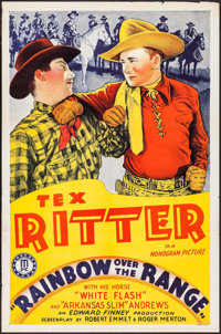 """Rainbow Over the Range & Other Lot (Monogram, 1940). One Sheet (27"""" X 41"""") & Uncut Pressbook (8 Pages..."""
