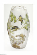 Art Glass:Other , A French Etched And Enamelled Glass Vase Damon, c.1900 The largebulbous clear etched glass vase with an inverted scallo...