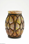 Art Glass:Schneider, A French Glass and Wrought-Iron Vase Attributed to Schneider,c.1925 The ovoid-form blow out vase internally decorated i...