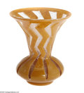 Art Glass:Other , A French Art Glass Vase Degue, c.1920 The bulbous form vase with aflared rim in a clear etched ground alternating with ...