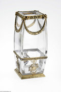 Art Glass:Other , A French Crystal And Gilt Vase Maker unknown, c.1903 The squareconvex form vase with gilt mounts to the foot and waist ...