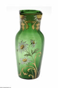 Art Glass:Other , A French Art Glass Vase Mont Joye, Ca. 1900, The baluster formterminating in a quatrefoil rim in a thalo green ground, ... (1 )