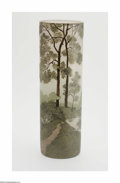 Art Glass:Legras, A French Etched And Enameled Glass Vase Legras, c.1920 Thecylindrical-form scenic vase enamelled to depict a tree-lined...
