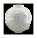 Art Glass:Lalique, A French Art Glass Vase R. Lalique, c.1920 The globular clearfrosted 'Poisson d'Or' vase, decorated with a raised patte...